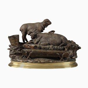 Bronze Tintenfass Les Moutons à L'Abreuvoir Skulptur von Jules Moigniez