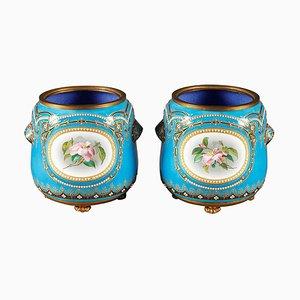 Vasi da fiori Bresse blu smaltati, fine XIX secolo, set di 2