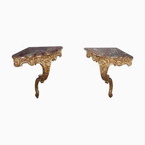 Consolle ad angolo in stile Luigi XV, set di 2