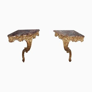 Louis XV Style Corner Console Tables, Set of 2