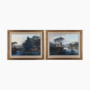Dipinti di paesaggio con mulino e pastorale, guazzo su carta, set di 2