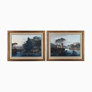 Landscape Paintings with Mill and Pastoral, Gouache on Paper, Set of 2