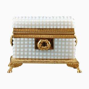 Boîte à Bijoux Charles X en Opaline Blanche, Début 19ème Siècle