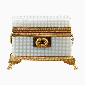 Early 19th Century Charles X White Opaline Jewelry Box