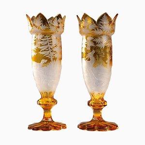 19th-Century Yellow Bohemian Crystal Vases, Set of 2