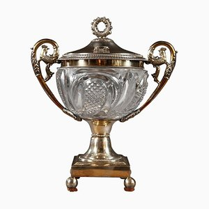 19th Century Cut Crystal and Silver Candy Dish by Dupré