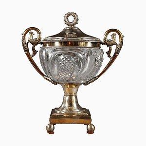 Bonbonschale aus geschliffenem Kristallglas & Silber von Dupré, 19. Jh