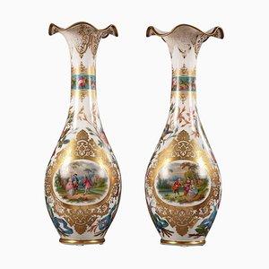 Große Opalglas Vasen, 2er Set