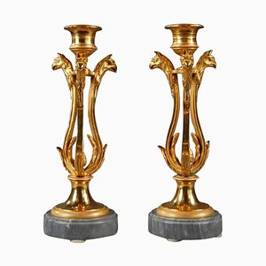 Candlesticks in Ormolu with Turquin Marble Base, Set of 2