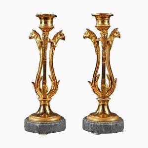 Portacandele in bronzo dorato con base in marmo turchese, set di 2