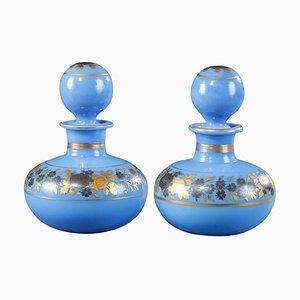 Blue Opaline Perfume Bottles with Desvignes Decoration, Set of 2