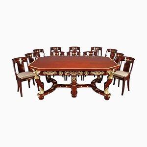 19th-Century Empire Style Mahogany and Gilt Bronze Dining Room Set, Set of 13