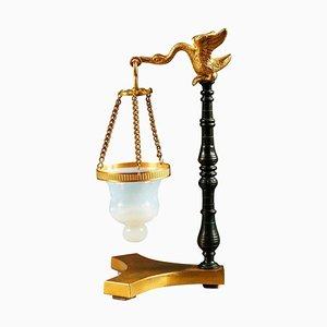 Brûle-Parfum Restoration avec Cygne en Bronze et Opaline