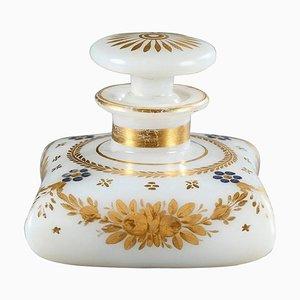 Frühes 19. Jh. Weiße Opalglas Parfümflasche mit Desvignes Dekoration