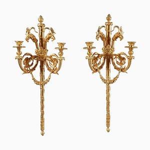 Louis XVI Style Sconces After Jean-Louis Prieur and Pierre Gouthière, Set of 2