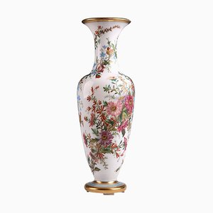 19th-Century Opaline Vase with Flowers