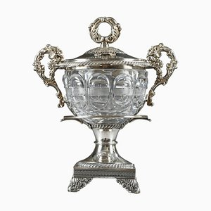Großer Confiturier aus Silber & geschliffenem Kristallglas mit 12 Löffeln, 19. Jh., 13er Set