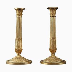 Restoration Gilt Bronze Candlesticks, Set of 2