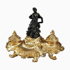 Rokoko Bronze Tintenfass mit einer Göttin