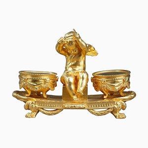 Calamaio L'Amour Timbalier in stile Luigi XVI in bronzo dorato