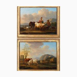 Dieboldt, Paysages avec Vaches, Huile sur Panneau, Set de 2, Encadré