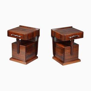Tables de Chevet en Placage d'Ebène de Macassar, Set de 2