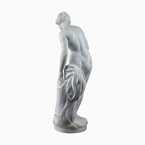 After Falconet, Diane aux Bains, Sculpture in White Marble