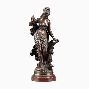 Escultura La Baigneuse Aux Roseaux de bronce de Auguste Moreau