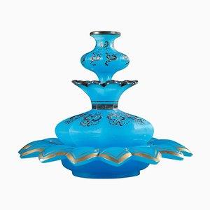 Blaue Opalglas Parfümflasche mit emailliertem Dekor, 19. Jh., 2er Set