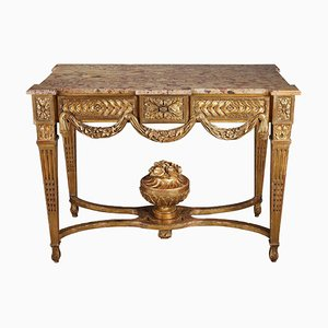 Louis XVI Style Gilded and Carved Wood Console