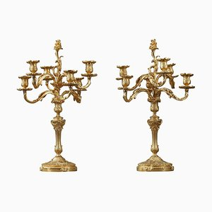 Candélabres Style Rocaille en Bronze Doré