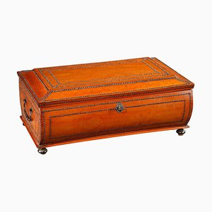 Large Charles X Burr Veneer Shawl Box, 19th Century