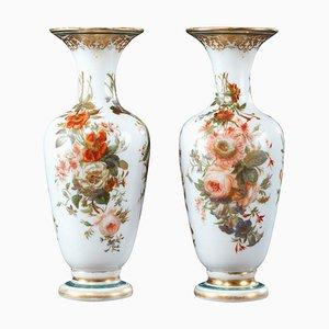 Louis-Philippe Enameled Opaline Vases, Set of 2
