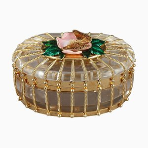 Rock Crystal Box with Enameled Gold Mounts from Algernon Asprey Ltd
