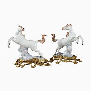 Chevaux en Porcelaine Dorée par Samson Manufactory, Set de 2