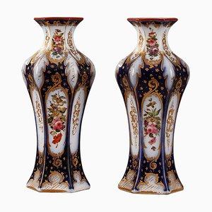 Napoleon III Porcelain Vases, Set of 2