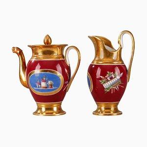 Frühes 19. Jh. Empire Kaffeekanne und Krug aus Porzellan, 2er Set