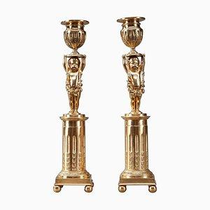 19th Century Ormolu Bronze Candlestick Holders with Putti, Set of 2