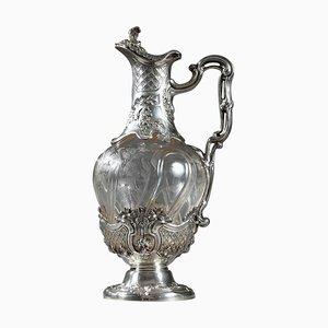 Silberne Kanne aus Kristallglas von Edouard Ernie, 1880er, 19. Jh