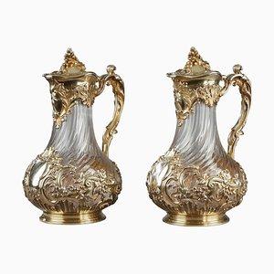 Kannen aus Silber und Kristallglas von Tétard, 2er Set