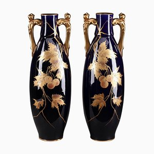 Late 19th Century Blue Ceramic Vases from Gustave Asch, Set of 2