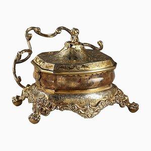 Englisches Tintenfass mit Silbervergoldung und Achat, 1830er