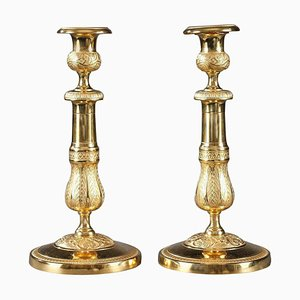 Ormolu Candlesticks with Palmettes and Flowers, Set of 2