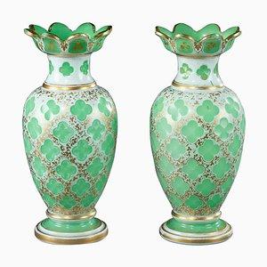 Napoleon III Vasen mit Opalglas Overlay, 2er Set