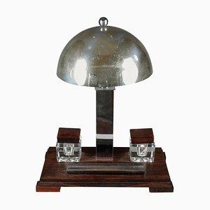 Art Deco Chromed Metal and Makassar Ebony Desk Lamp