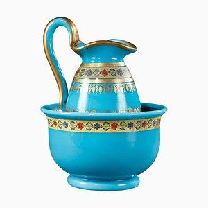 Schale und Krug aus blauem Opalglas mit Dekoration von Desvignes, 2er Set