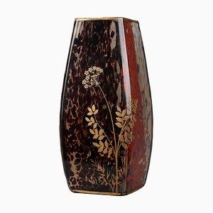 Art Nouveau Speckled Glass Vase by Ernest Léveillé