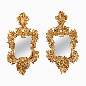 Specchi da parete in legno dorato, inizio XVIII secolo, set di 2