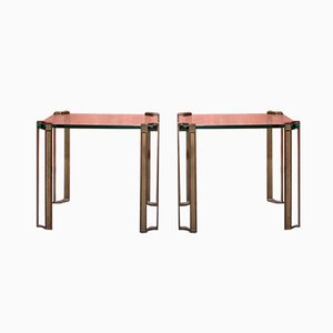 Brass Thick Faceted Glass Side Tables Peter Ghyczy, Set of 2