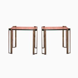 Tavolini in ottone e vetro sfaccettato, set di 2